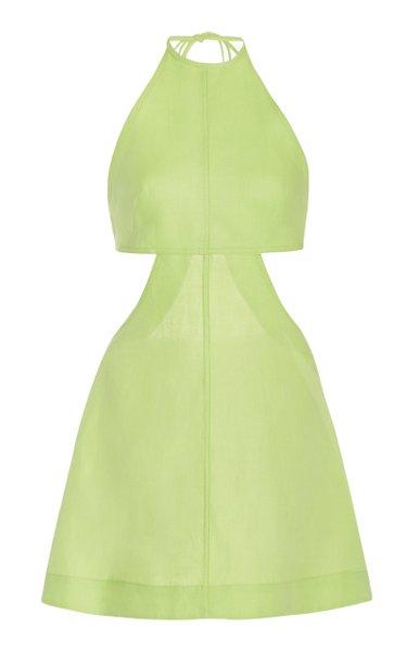 Cutout Linen Mini Halter Dress