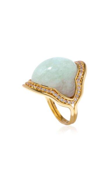 Fluid 18K Yellow Gold Aquamarine, Diamond Ring