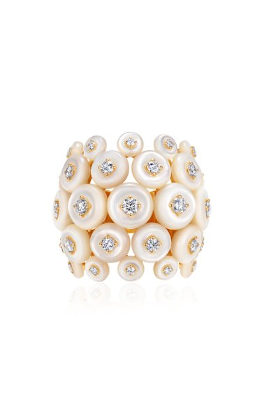 Galaxy 18K Yellow Gold Mother-Of-Pearl Diamond Ring