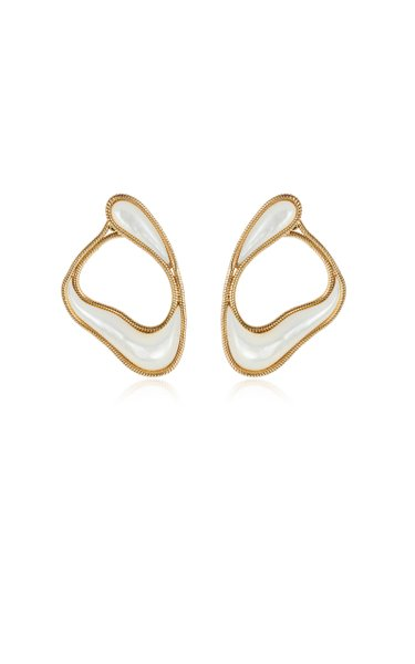 Stream 18K Yellow Gold Mother-Of-Pearl Earrings