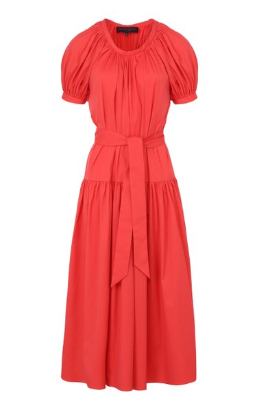 Belted Gathered Cotton Dress