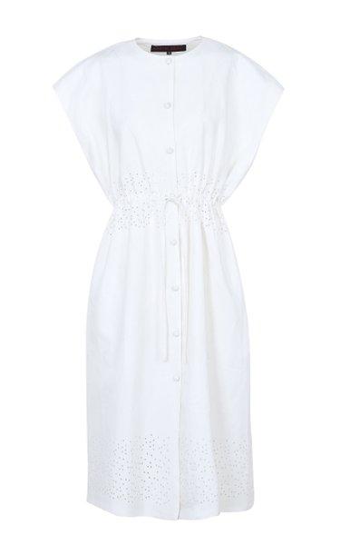 Tie-Accented Linen Dress