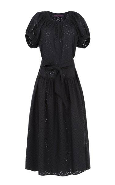 Belted Puff-Sleeve Cotton Dress