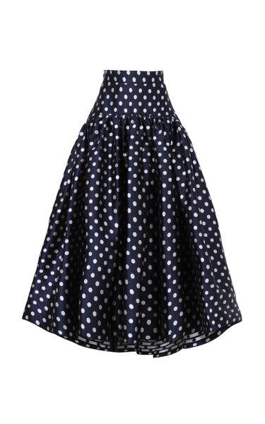 Polka-Dot Silk Skirt