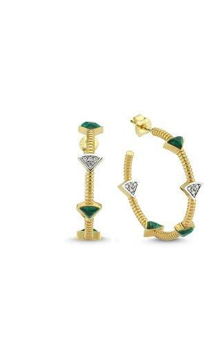 La Linea 14K Yellow Gold Malachite, Diamond Hoop Earrings