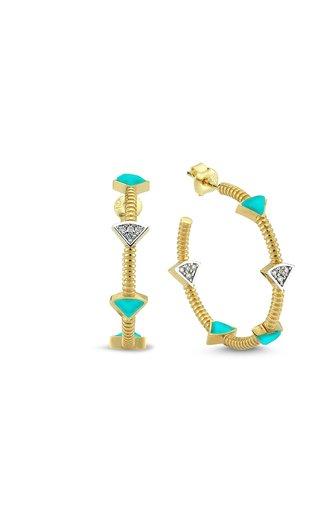 La Linea 14K Yellow Gold Turquoise, Diamond Hoop Earrings