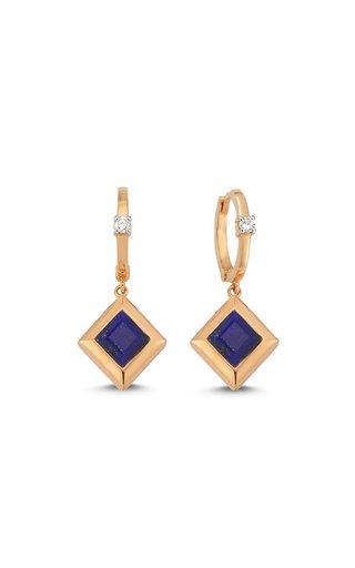 Memory 14K Rose Gold Diamond, Lapis Earrings