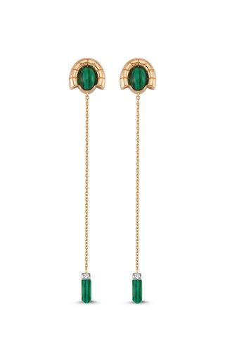 Memory 14K Rose Gold Diamond, Malachite Earrings