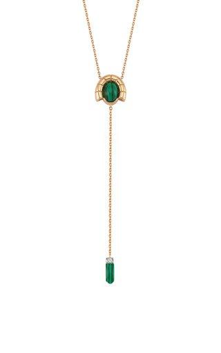 Memory 14K Rose Gold Diamond, Malachite Lariat Necklace