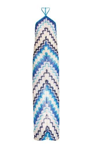 Celestine Chevron-Knit Maxi Halter Dress