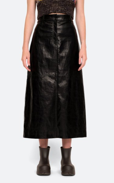 Laurence Vegan Leather Midi Skirt