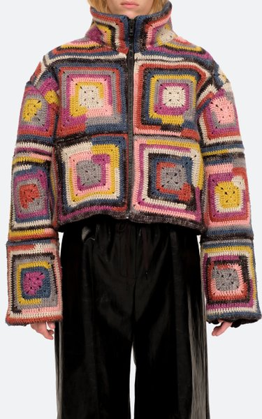 Bette Crochet-Knit Puffer Jacket