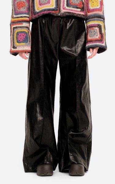 Laurence Vegan Leather Wide-Leg Track Pants
