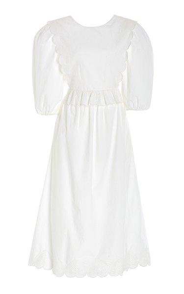 Heidi Heart-Quilted Cotton Midi Apron Dress