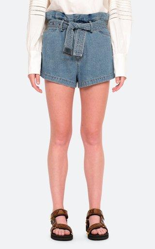 Vida Belted Denim Paperbag Shorts