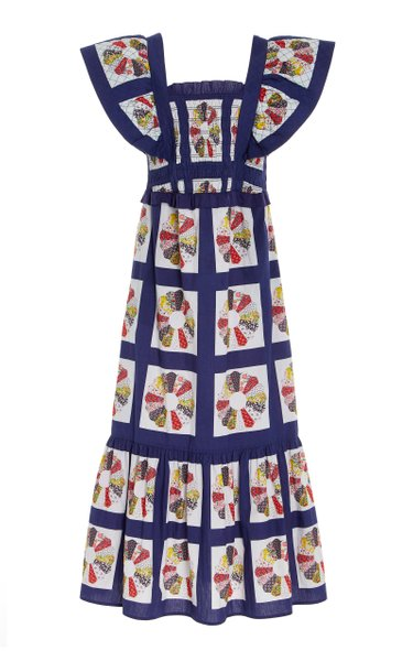 Pippin Smocked Patchwork-Printed Cotton Maxi Apron Dress
