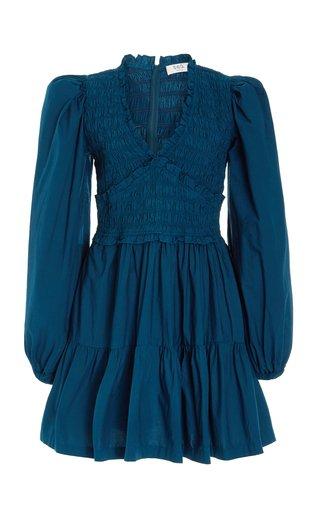 Gaia Smocked Cotton Mini Dress