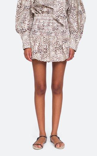 Calla Smocked Printed Cotton Shorts