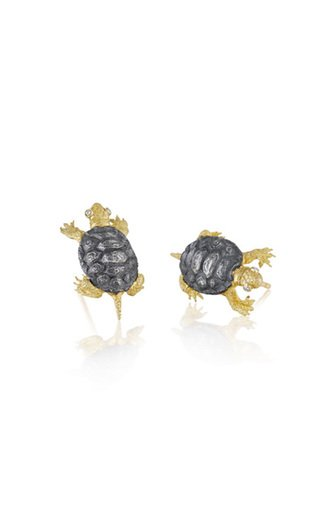 Terrapin 18K Yellow Gold and Sterling Silver Diamond Earrings