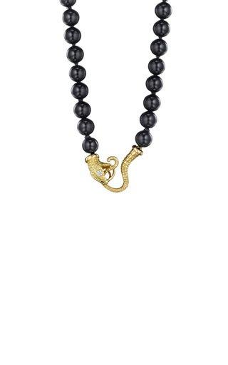 Serpent 18K Yellow Gold Onyx, Diamond Necklace
