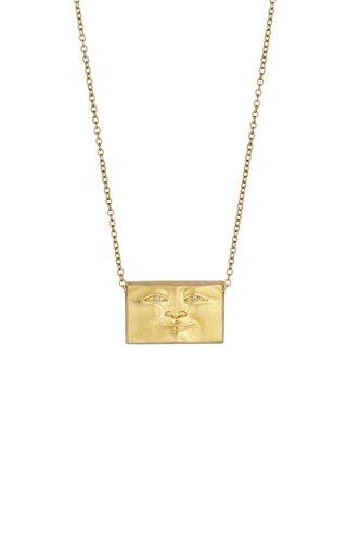Brickface 18K Yellow Gold Diamond Necklace