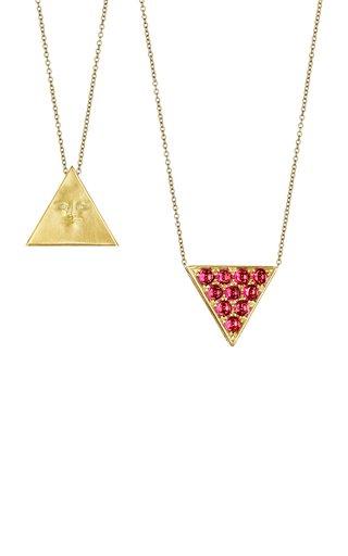 Triangleface Gemini 18K Yellow Gold Garnet, Diamond Necklace