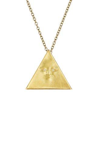 Triangleface Gemini 18K Yellow Gold Diamond Necklace