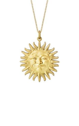 Large Sunface 18K Yellow Gold Diamond Necklace