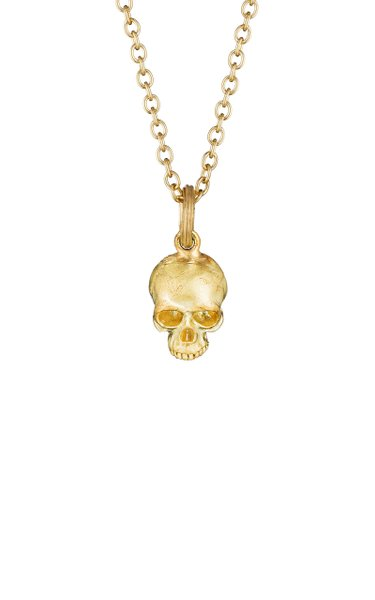 Small Skull 18K Yellow Gold Necklace