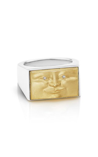 Brickface 18K Yellow Gold and Sterling Silver Diamond Ring