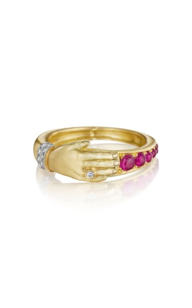 One Hand 18K Yellow Gold Ruby, Diamond Ring