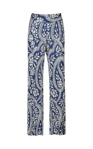 Midnight Blue Walk On The Wild Side Printed Straight-Leg Pants