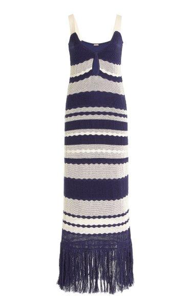 Picnic On The Riviera Striped Cotton-Knit Dress