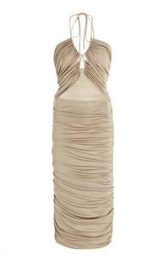 Look Through Gathered Midi Dress