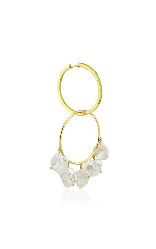 Convertible Enameled 14K Yellow Gold Single Pearl Earring