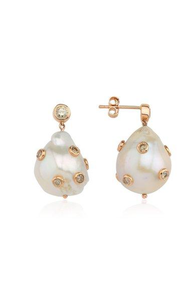 14K Rose Gold Pearl, Diamond Earrings