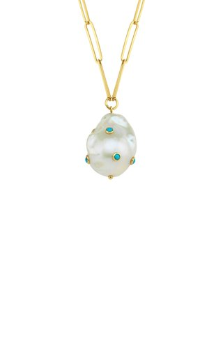 14K Yellow Gold Pearl, Turquoise Necklace