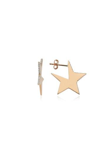 Star 14K Rose Gold Single Diamond Earring
