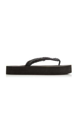 Flip Raffia Platform Sandals
