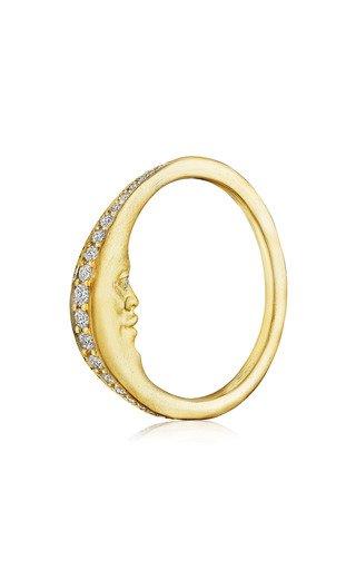 Crescent Moonface 18K Yellow Gold Diamond Ring