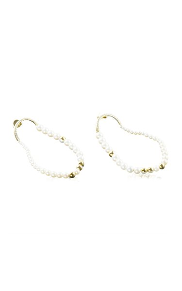 Othoniel's 18K Yellow and White Gold Pearl, Diamond Earrings