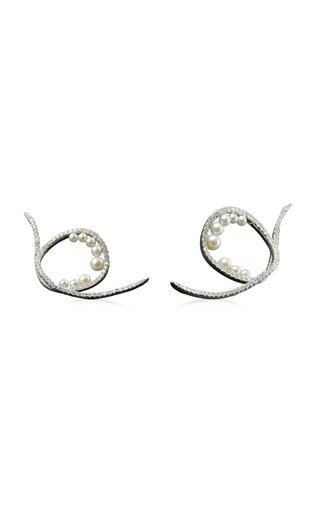 Bubble and Waves 18K White Gold Pearl, Diamond Earrings