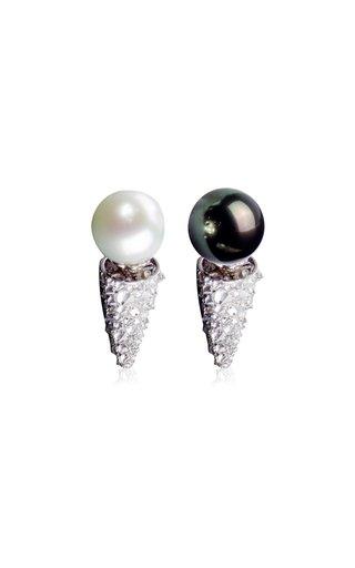 Pearl and Thorns 18K White Gold Pearl, Diamond Earrings