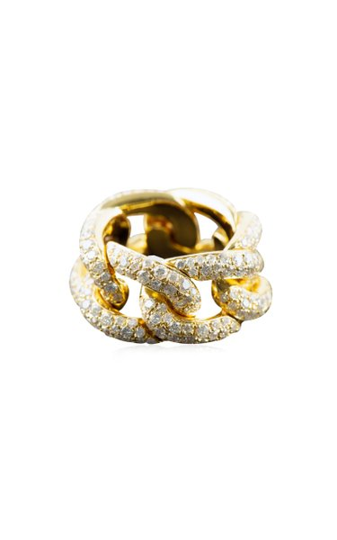 Link 14K Yellow Gold Diamond Ring