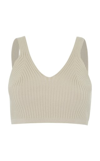 Athena Cropped Ribbed-Knit Cotton-Blend Top