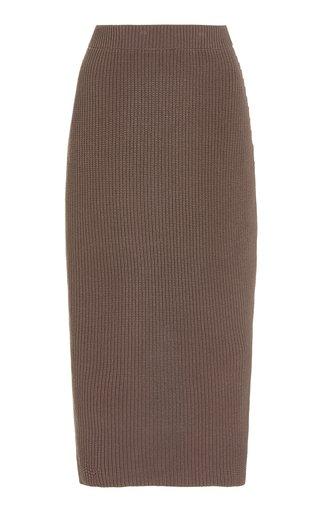 Juni Ribbed-Knit Cotton-Blend Midi Skirt
