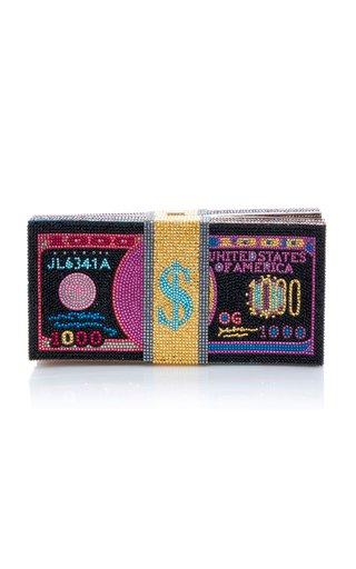 Stack Of Cash Funny Money Crystal-Embellished Clutch