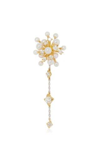 Hanabi Sky Rocket 18K Yellow Gold Diamond, Pearl Single Earring