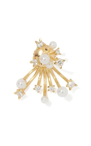 Hanabi Spark 18K Yellow Gold Diamond, Pearl Single Earring