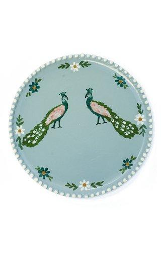 Handpainted Blue Peacock Dinner Plate
